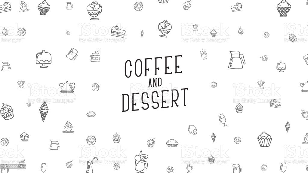 White background with drawings by hand of food, drinks and desserts....