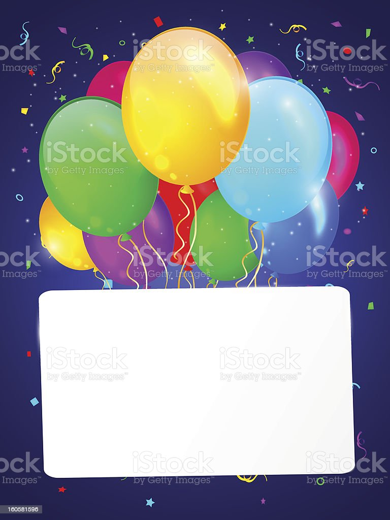 White background with multicolored balloons. royalty-free stock vector art