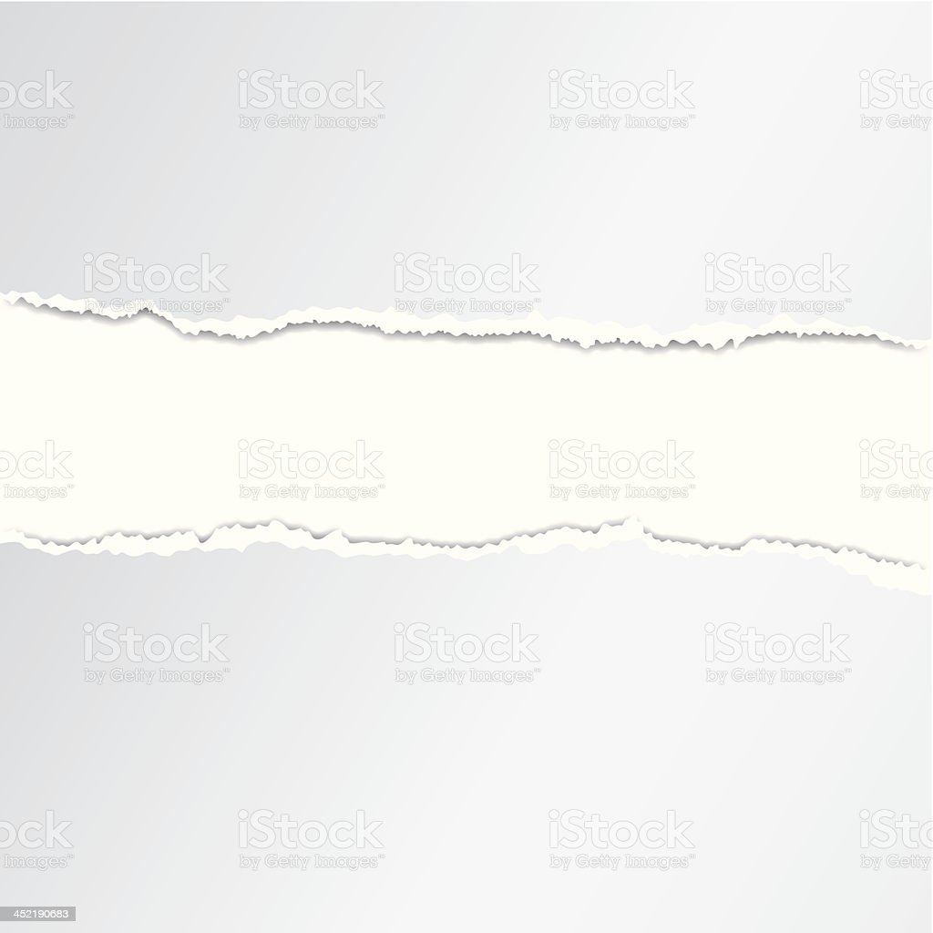 White background with torn paper vector art illustration