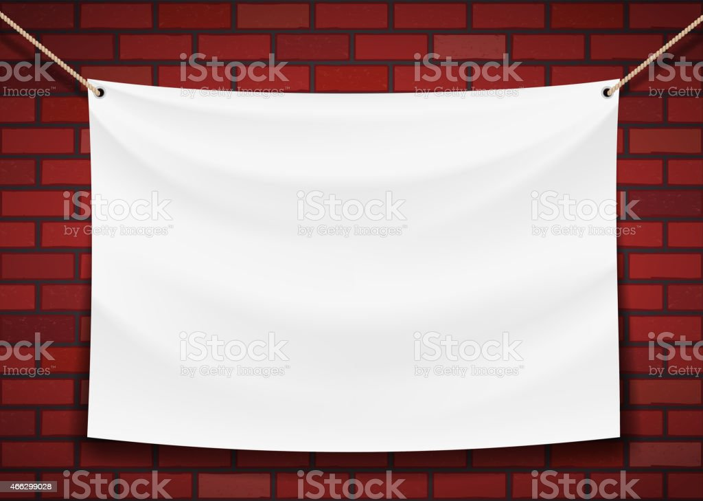 white banner hanging on a brick wall background vector art illustration