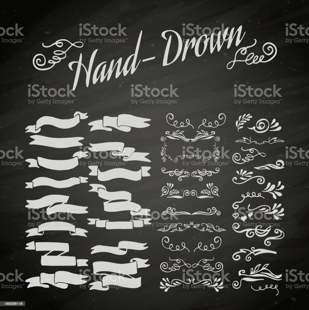 White banner sketches on a chalkboard vector art illustration