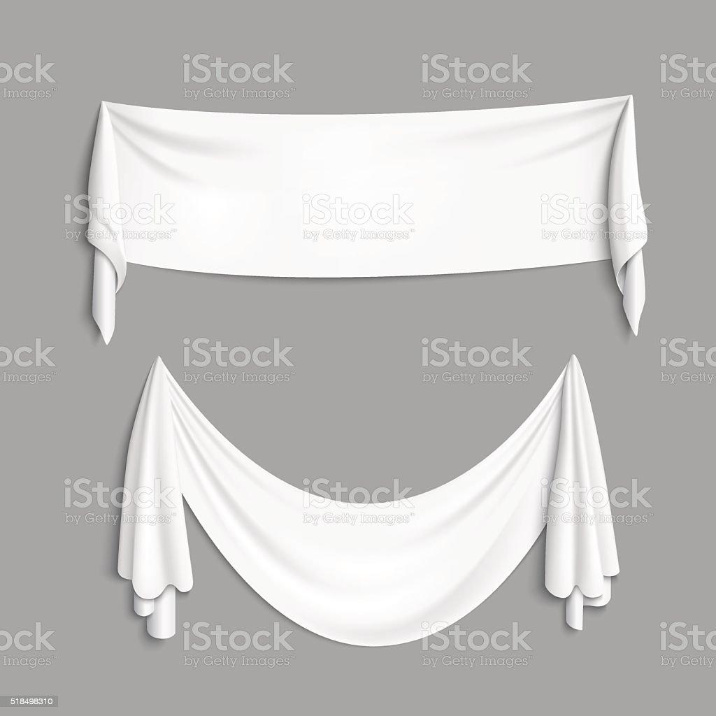 White banner with folds vector art illustration