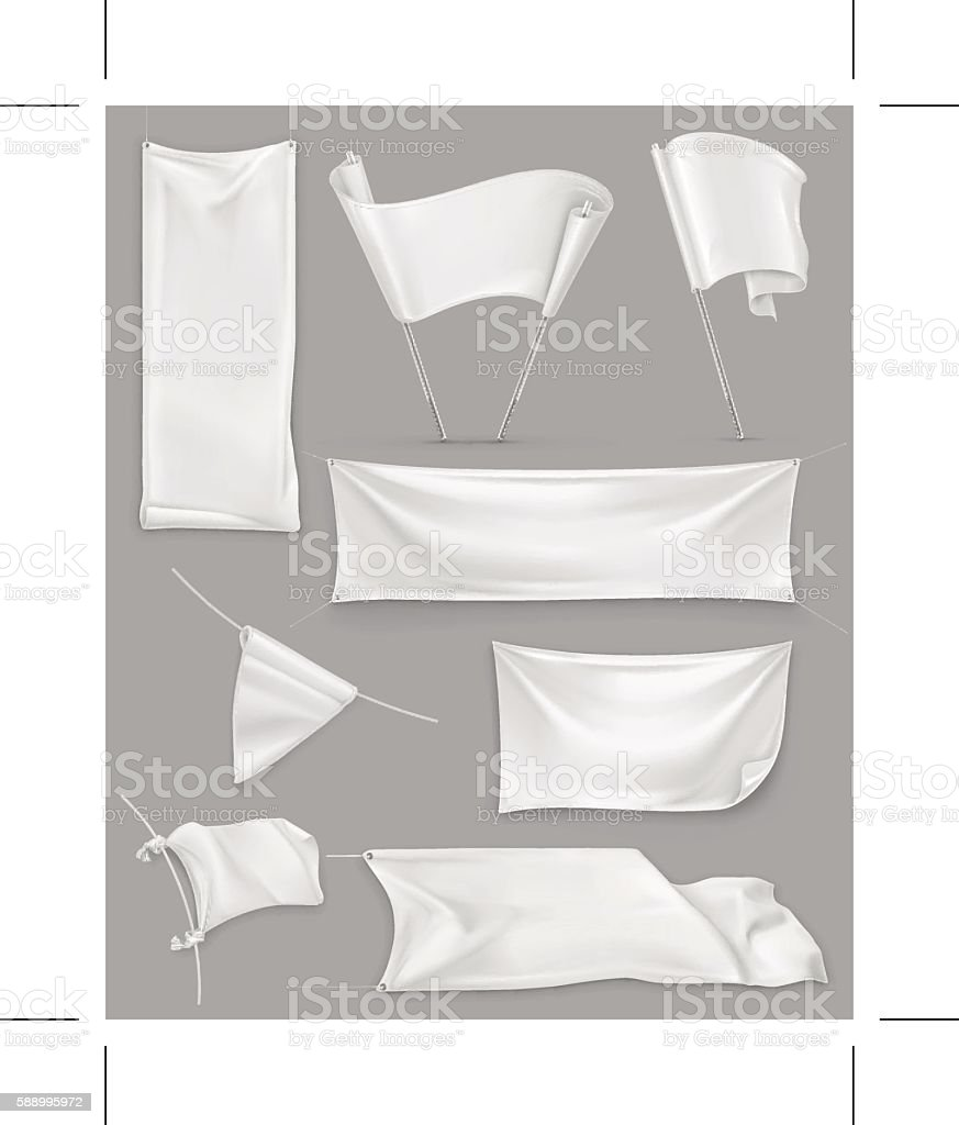 White banners and flags, illustration mesh, vector set mockup vector art illustration