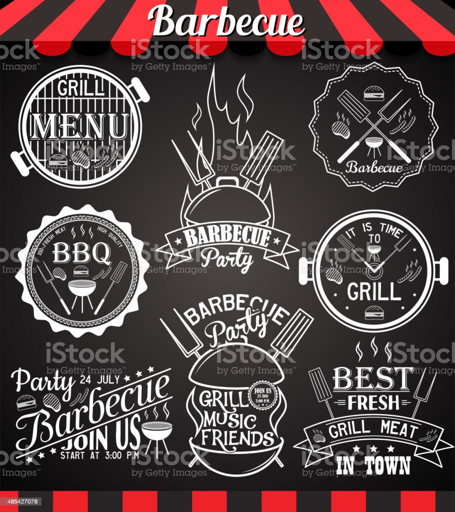 White barbecue party collection of icons, labels, signs, symbols vector art illustration
