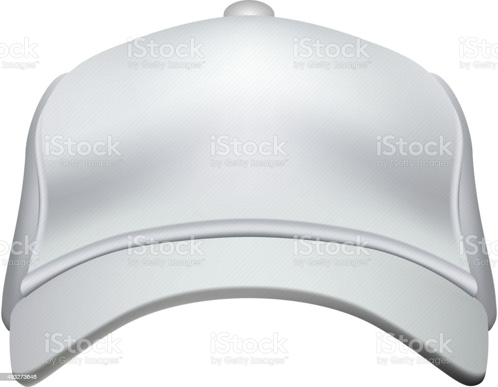 White Baseball Cap Isolated on White Background Vector vector art illustration