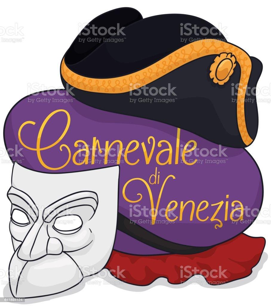 White Bauta Mask, Red Cape and Tricorn for Venice's Carnival vector art illustration