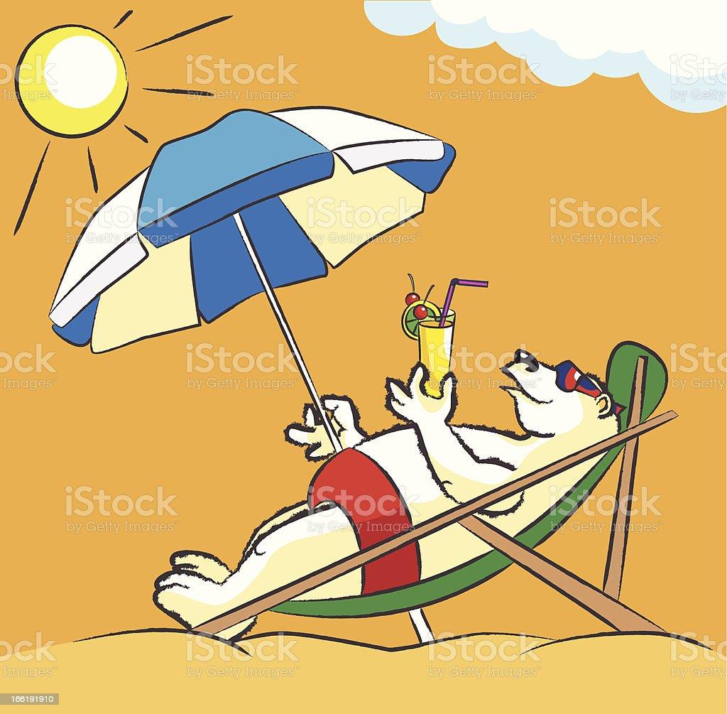 White bear on a beach royalty-free stock vector art