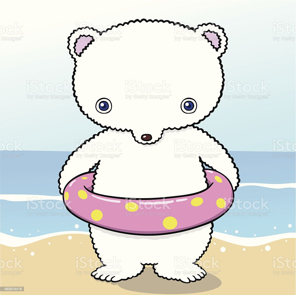 white bear which is in the beach royalty-free stock vector art