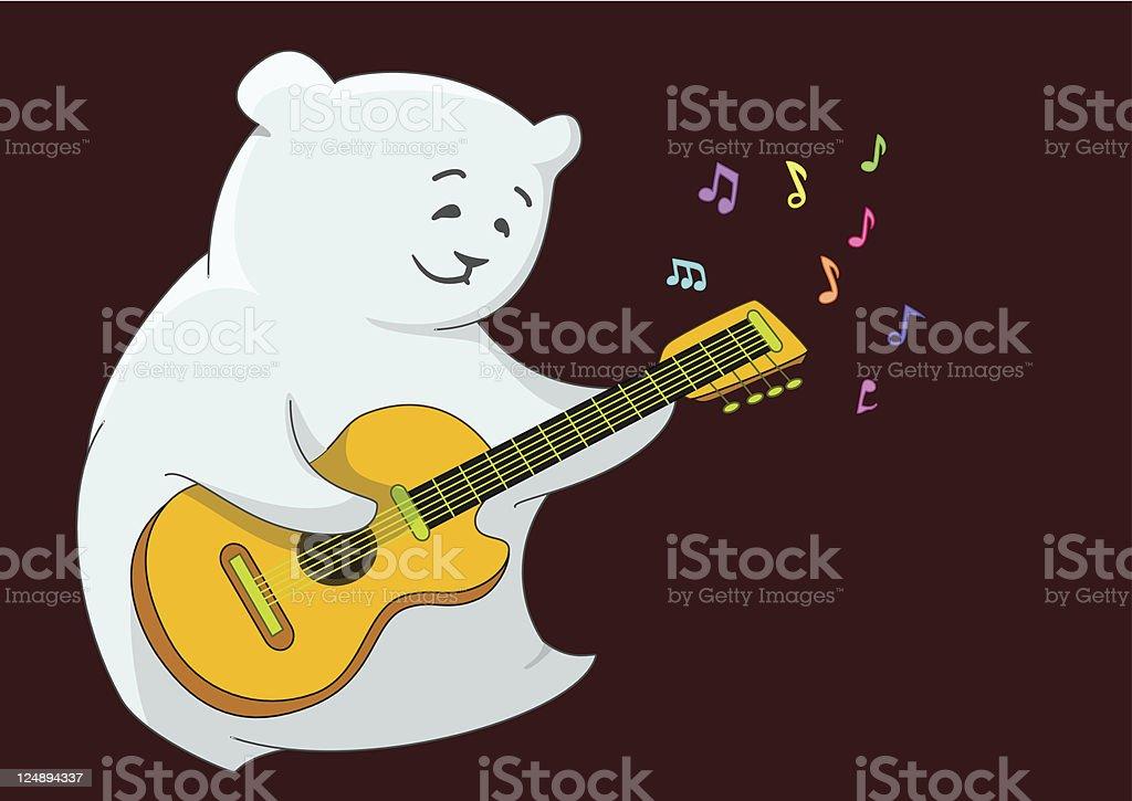 White bear-guitarist vector art illustration