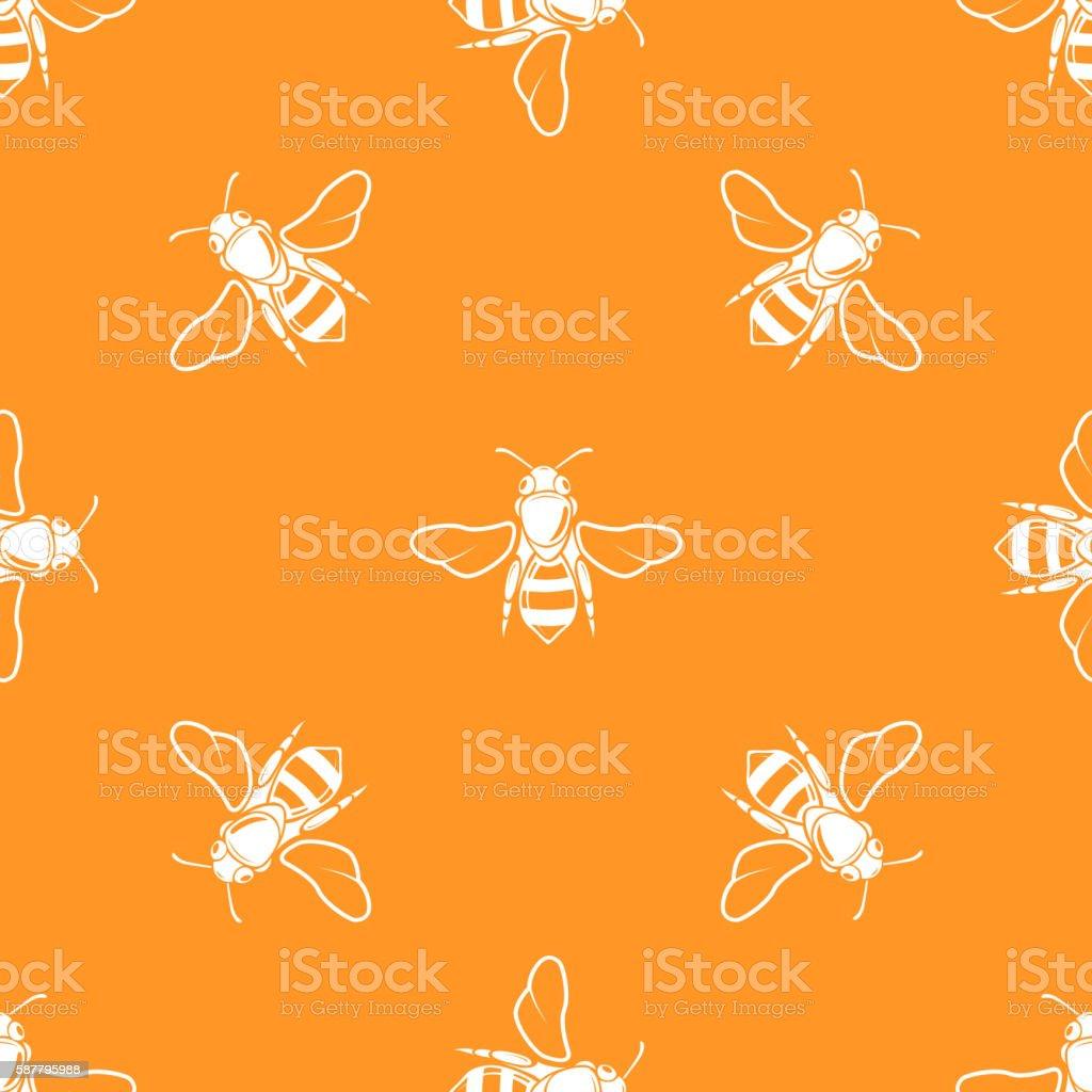White bees orange background vector seamless pattern vector art illustration