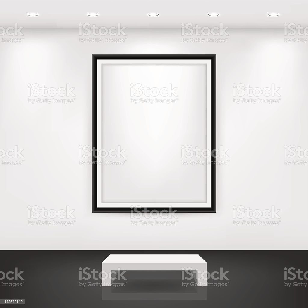 White bench in front of an empty black frame on a white wall vector art illustration