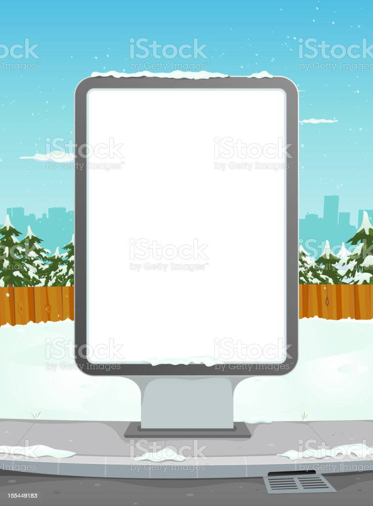 White Billboard On Winter Urban Background royalty-free stock vector art