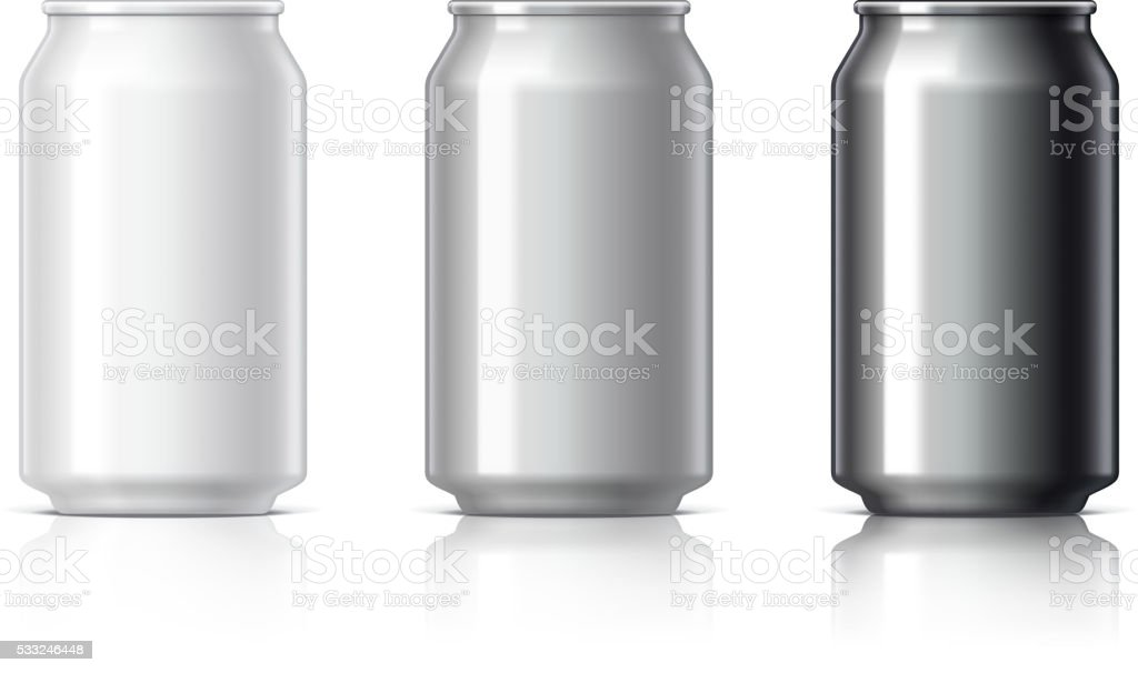 white black and gray aluminum cans vector art illustration