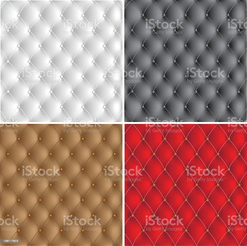 White, black, brown, and red leather upholstery patterns vector art illustration