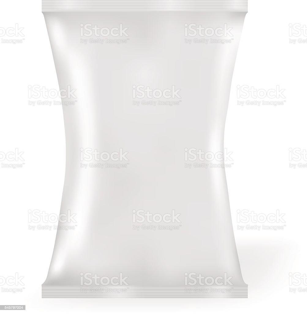 White Blank Foil Food Snack Sachet Bag Packaging For Coffee vector art illustration