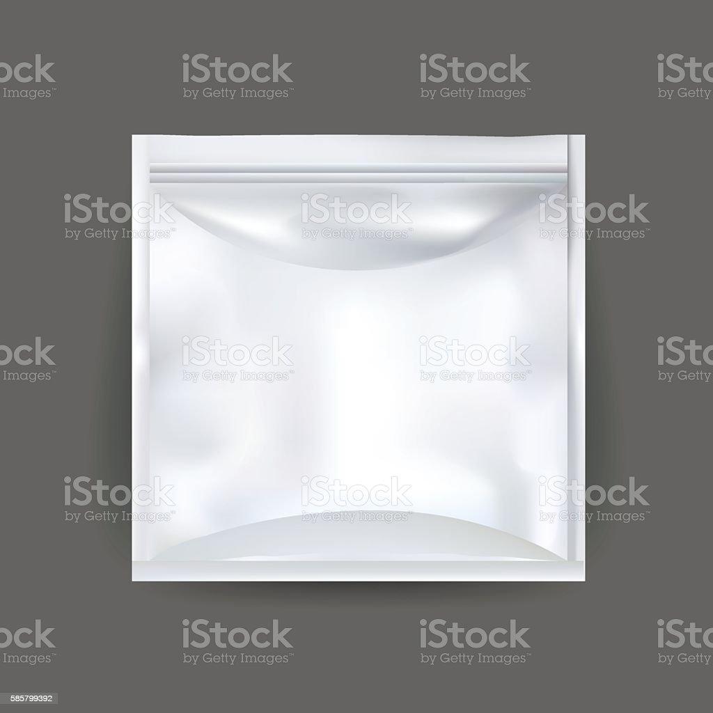 White Blank Foil Food Snack Sachet Bag Packaging vector art illustration