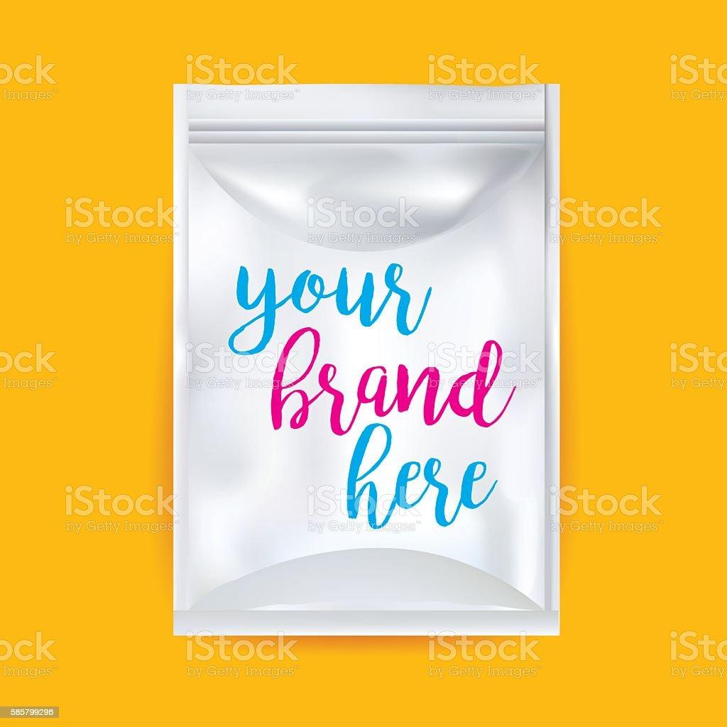 White Blank Foil Food Snack Sachet Bag vector art illustration