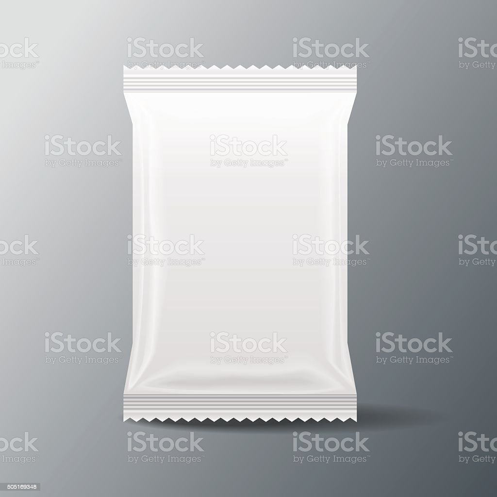 white Blank Food Bag Packaging vector art illustration