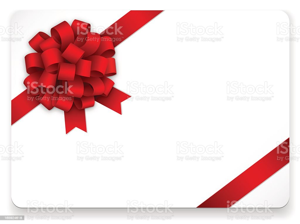 A white blank holiday card with a red ribbon royalty-free stock vector art