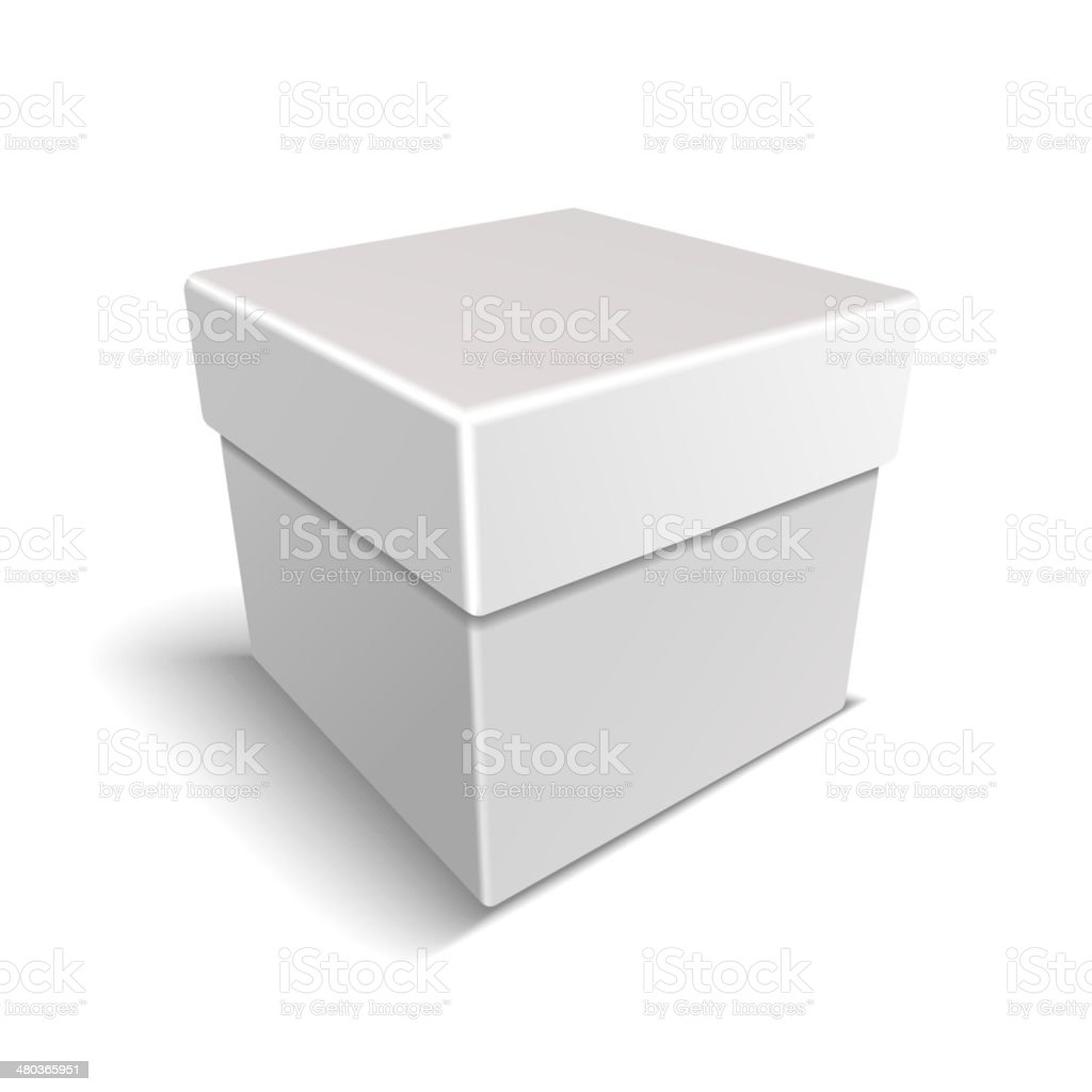 White Blank Paper Close Gift Box on Light Background royalty-free stock vector art