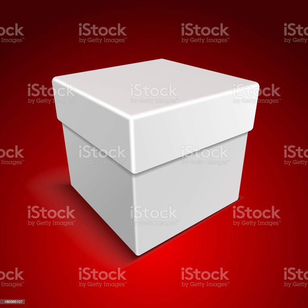 White Blank Paper Close Gift Box on Red Background royalty-free stock vector art
