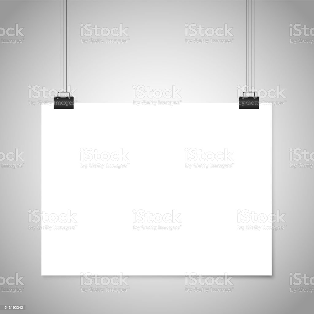 White blank paper hanging sign. Vector mockup vector art illustration