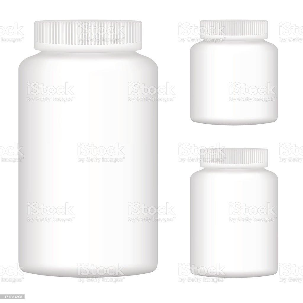 White blank plastic bottle set of three for packaging design royalty-free stock vector art
