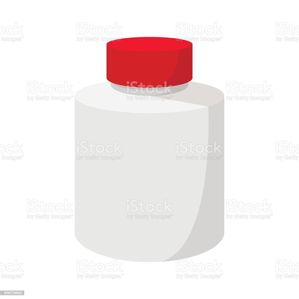 White blank plastic bottle with red cap icon vector art illustration
