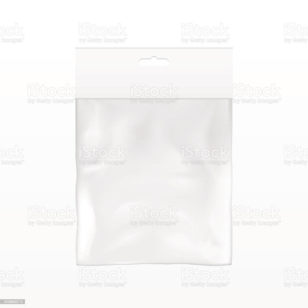 White Blank Plastic Pocket Bag. With Hang Slot. vector art illustration