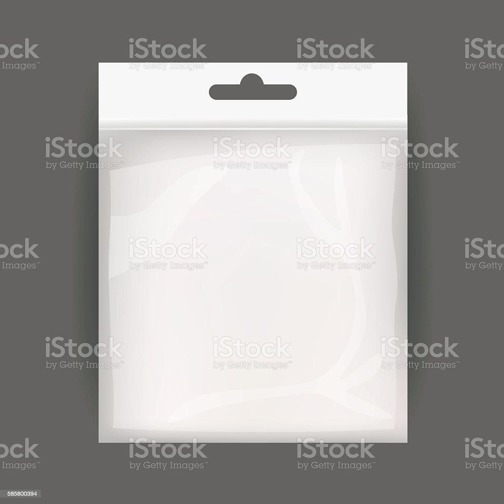 White Blank Plastic Realistic Pocket Bag. Hang Slot. Vector Illustration vector art illustration