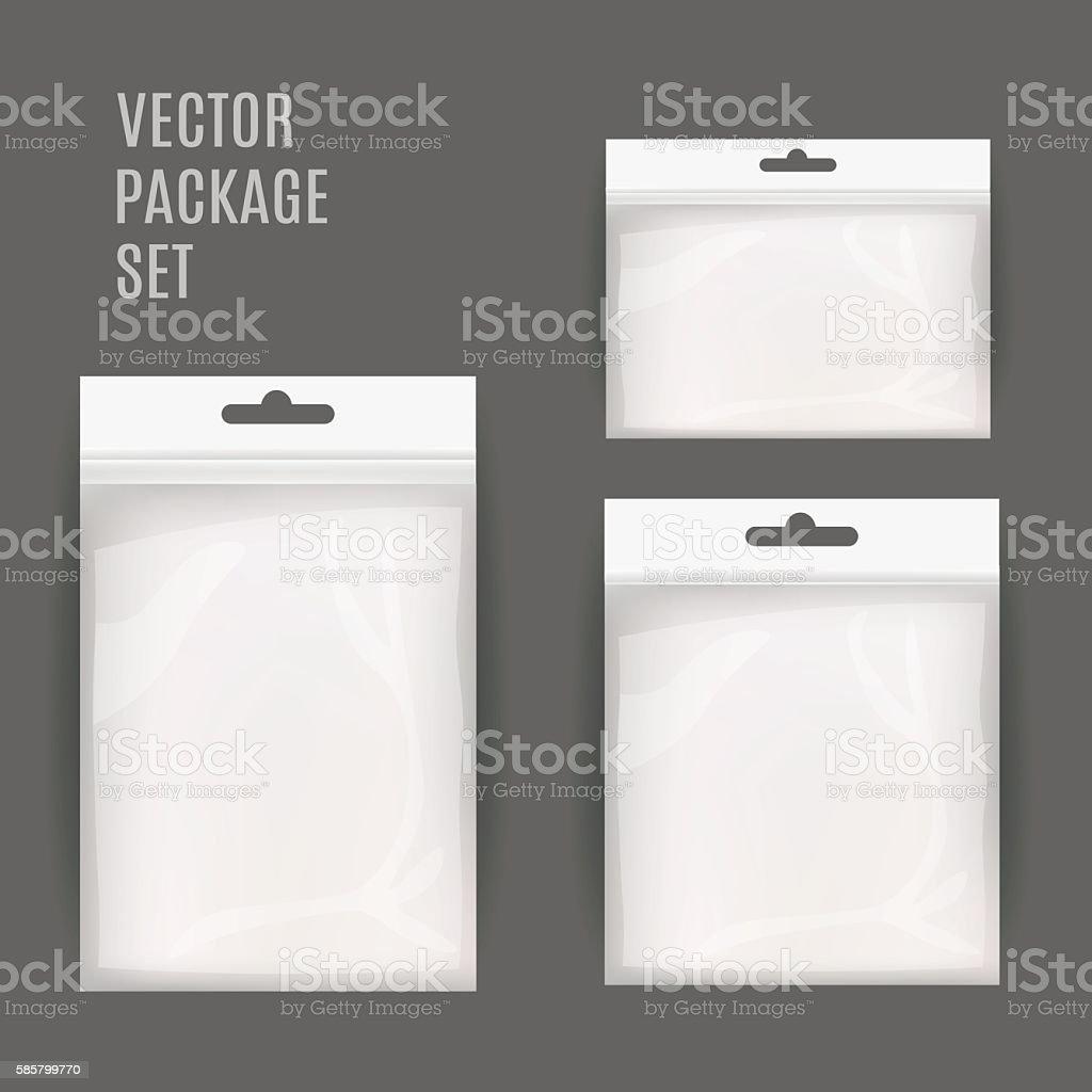 White Blank Plastic Realistic Pocket Bag Set. Hang Slot. vector art illustration