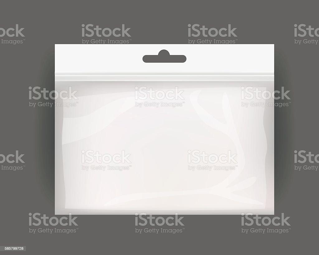 White Blank Plastic Realistic Pocket Bag. vector art illustration