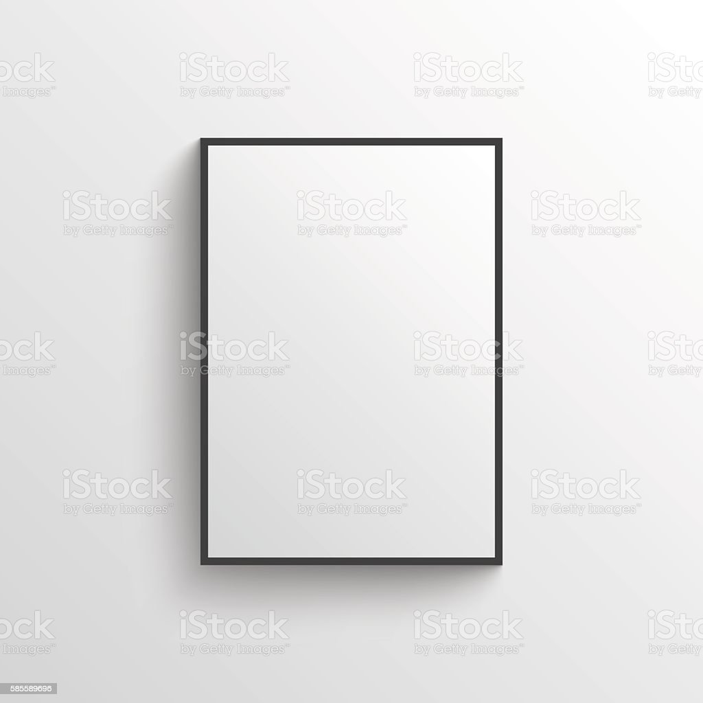 White blank poster with frame mock-up on grey wall vector art illustration