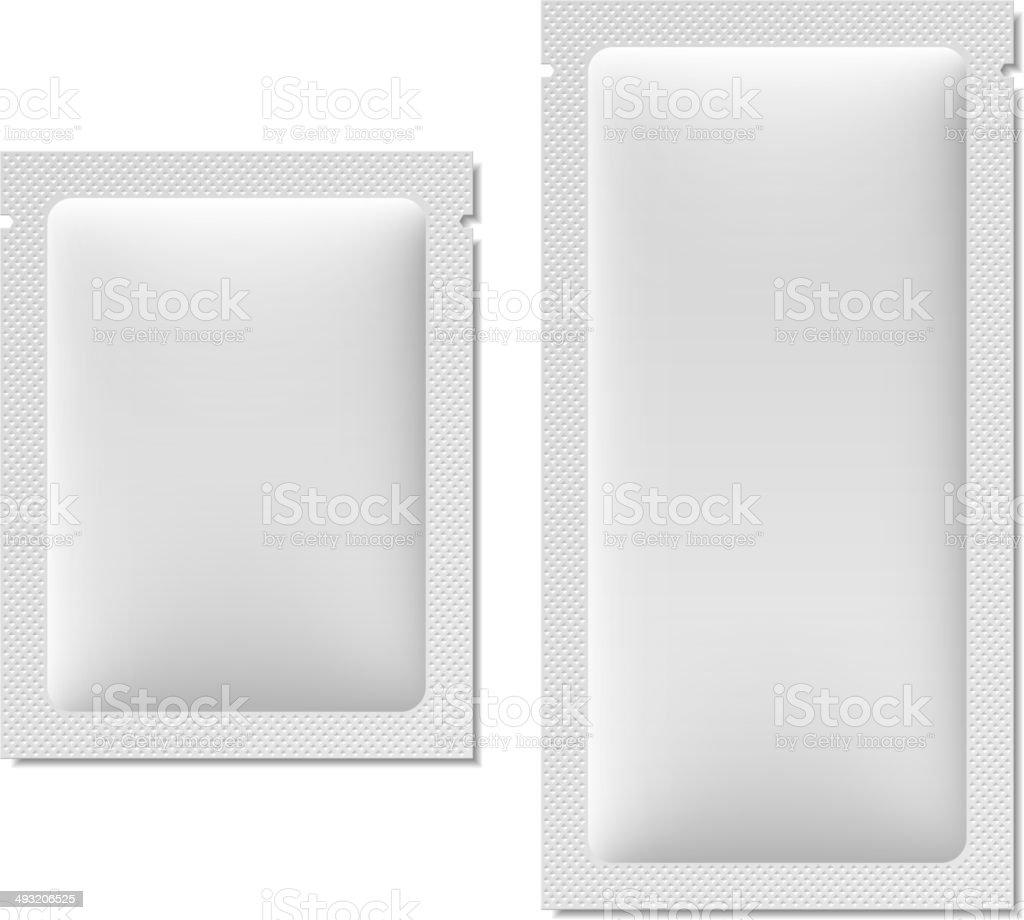 White blank sachet packaging for food, cosmetics, or medicine vector art illustration