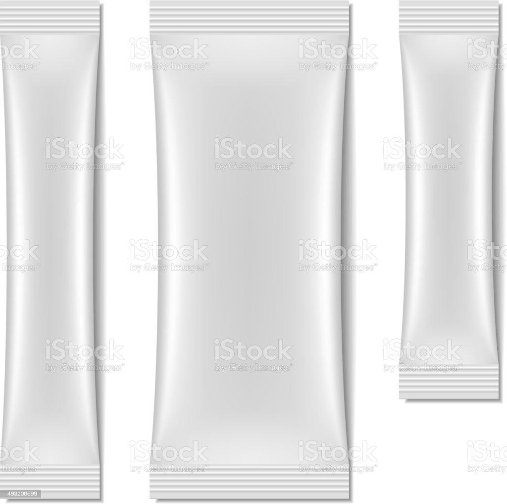 White blank sachet packaging, stick pack vector art illustration