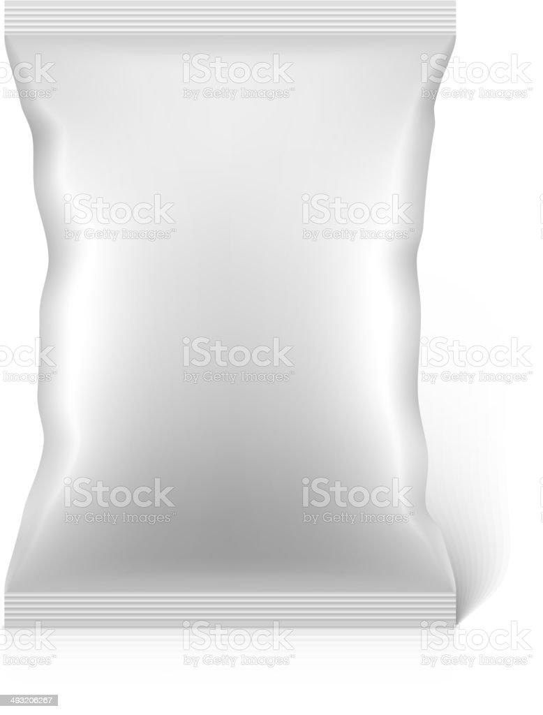 White blank snacks food foil packaging bag vector art illustration