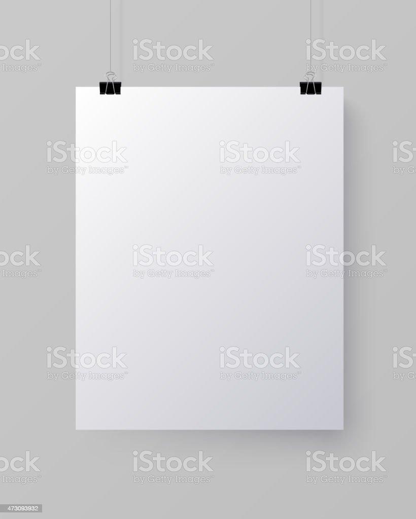 White blank vertical sheet of paper, vector mock-up vector art illustration