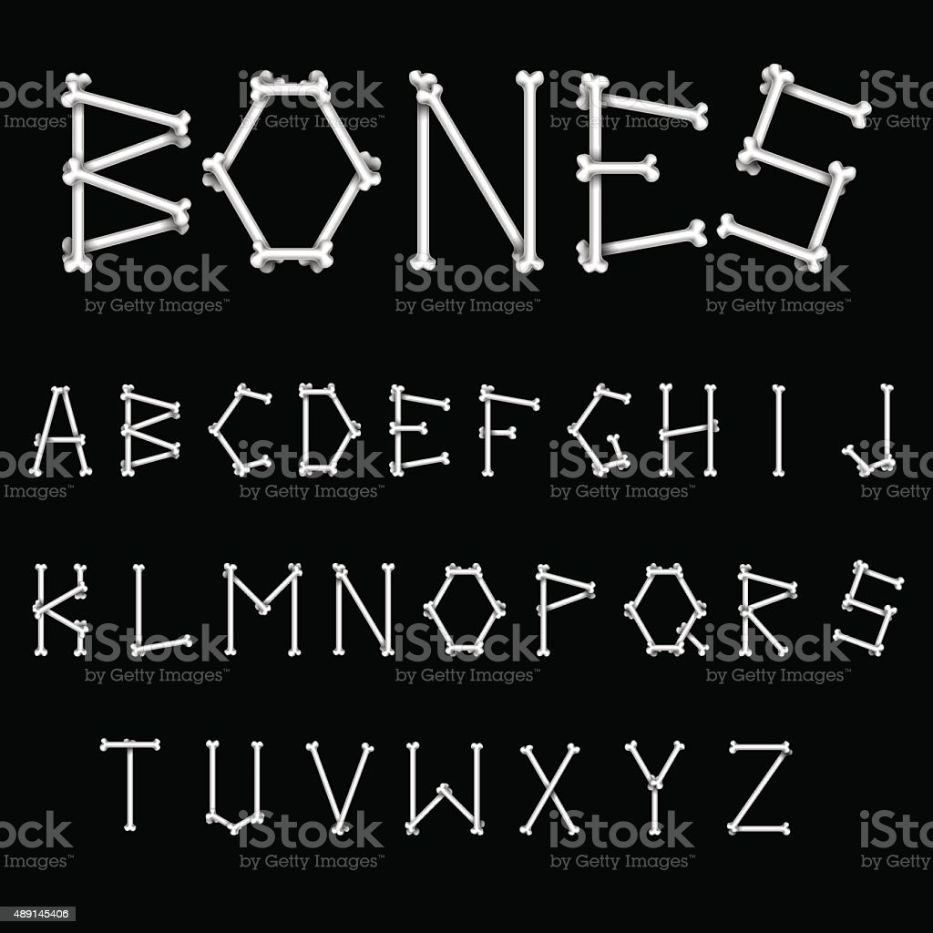 White Bones Font vector art illustration