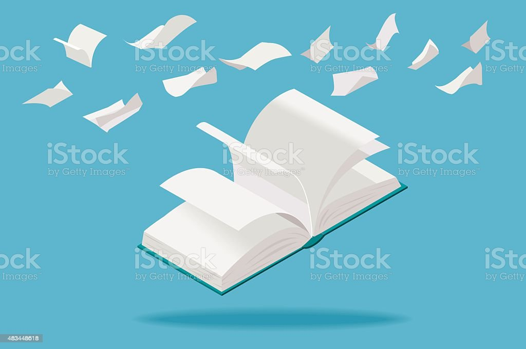 White Book and Paper Sheets Flying vector art illustration