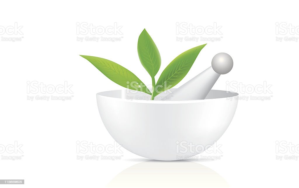 White bowl and mortar with herbs royalty-free stock vector art