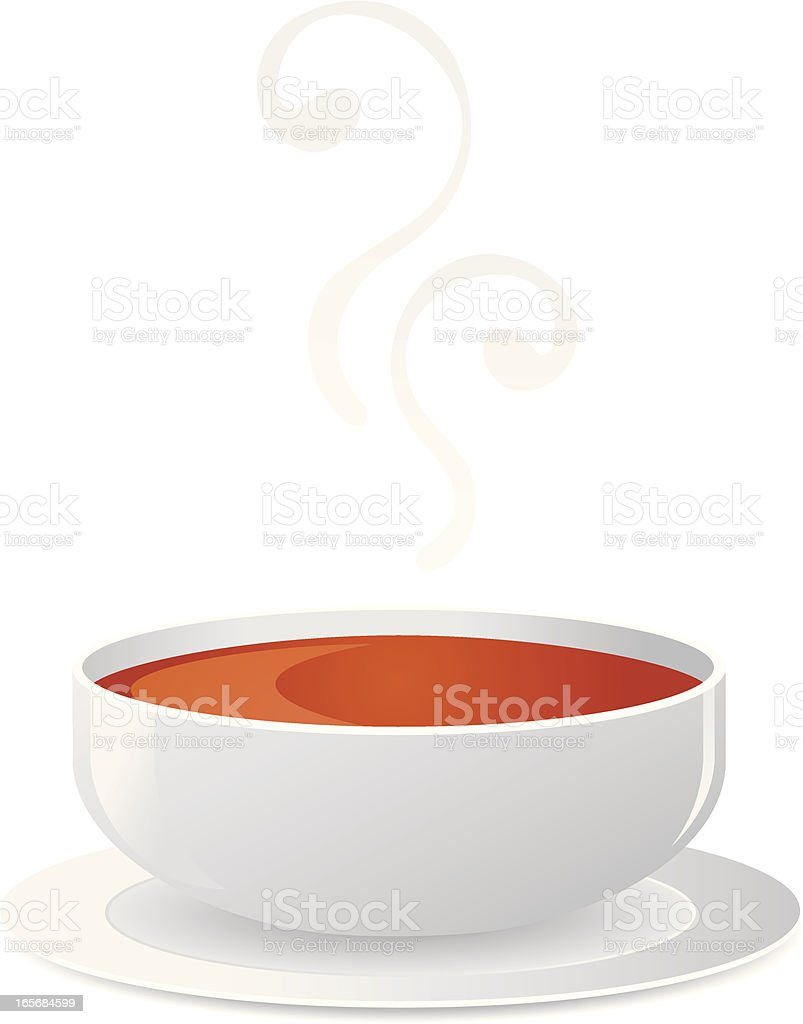 A white bowl of hot red soup with steam royalty-free stock vector art