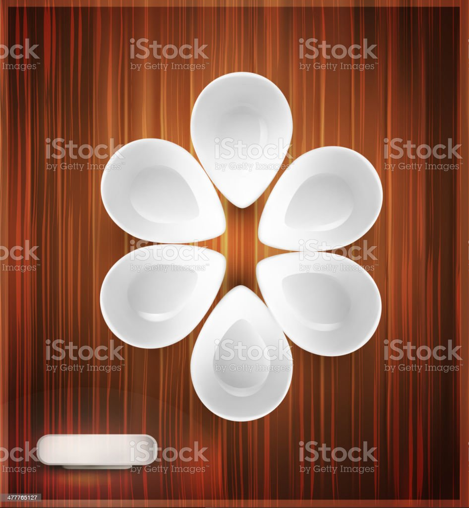 white bowl on the wooden background royalty-free stock vector art