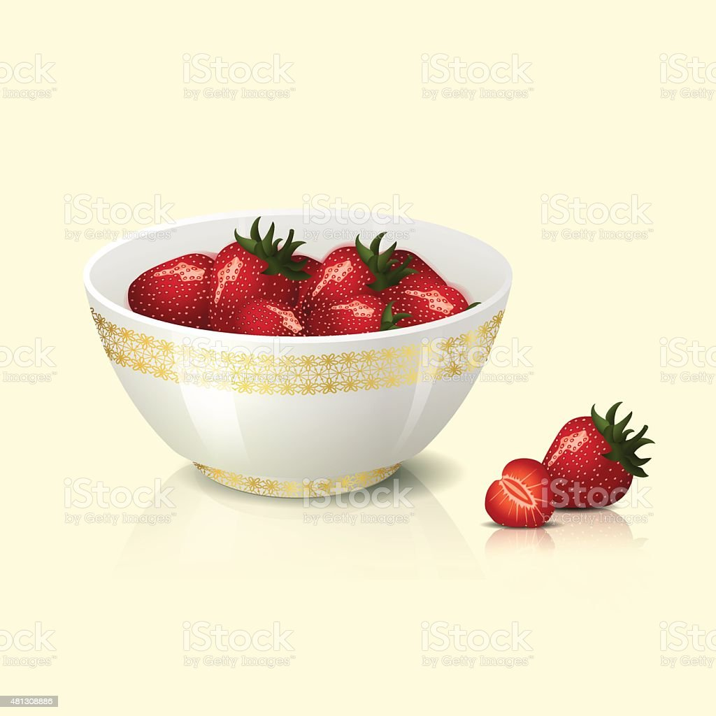 white bowl with strawberries shadow and reflection vector art illustration