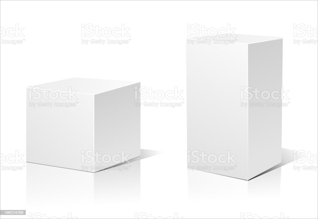 White box isolated vector art illustration
