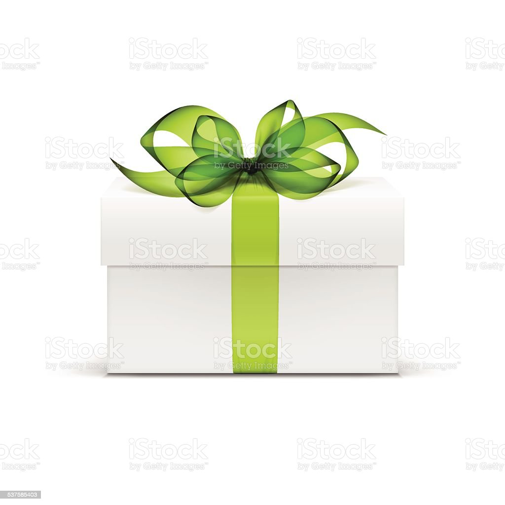 White Box with Green Ribbon and Bow Isolated on Background vector art illustration