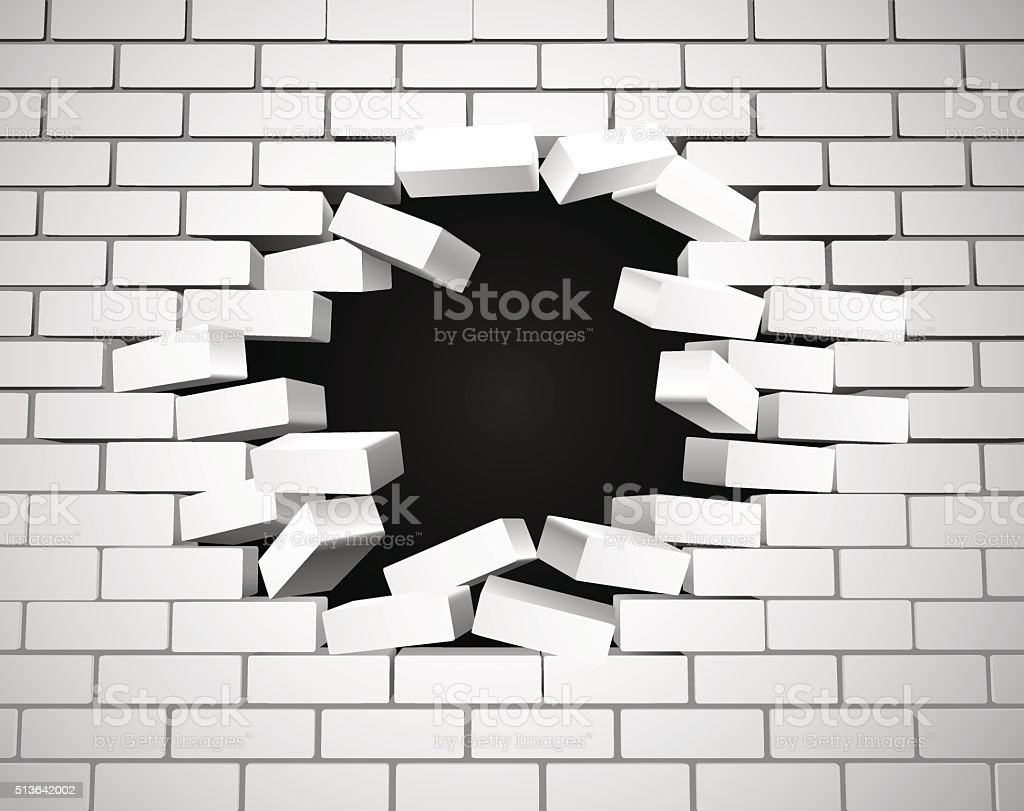 White Breaking Wall vector art illustration