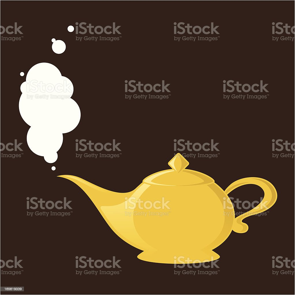 White Bubbles coming out from Genie Lamp vector art illustration