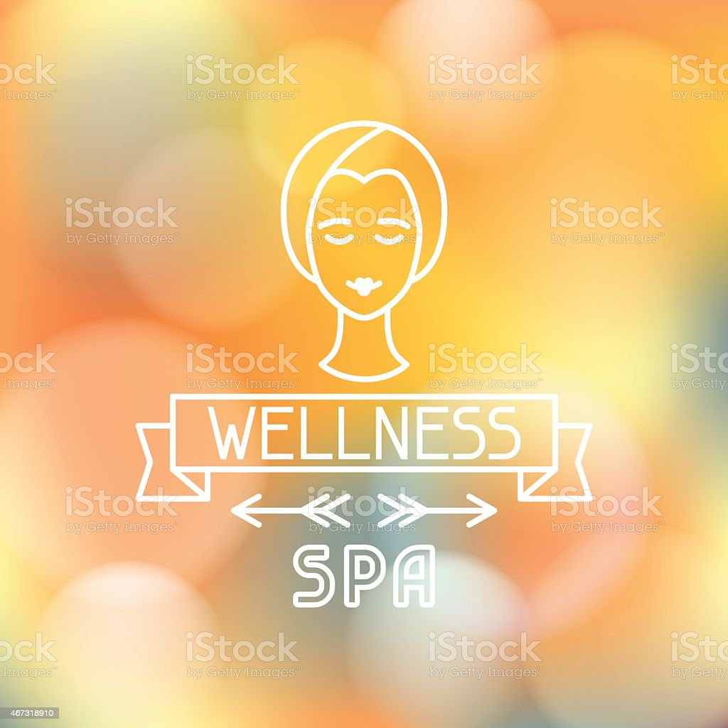 A white business logo of WELLNESS Spa with a female head vector art illustration
