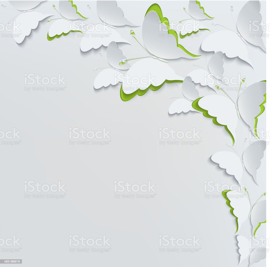 White butterflies on a white background vector art illustration