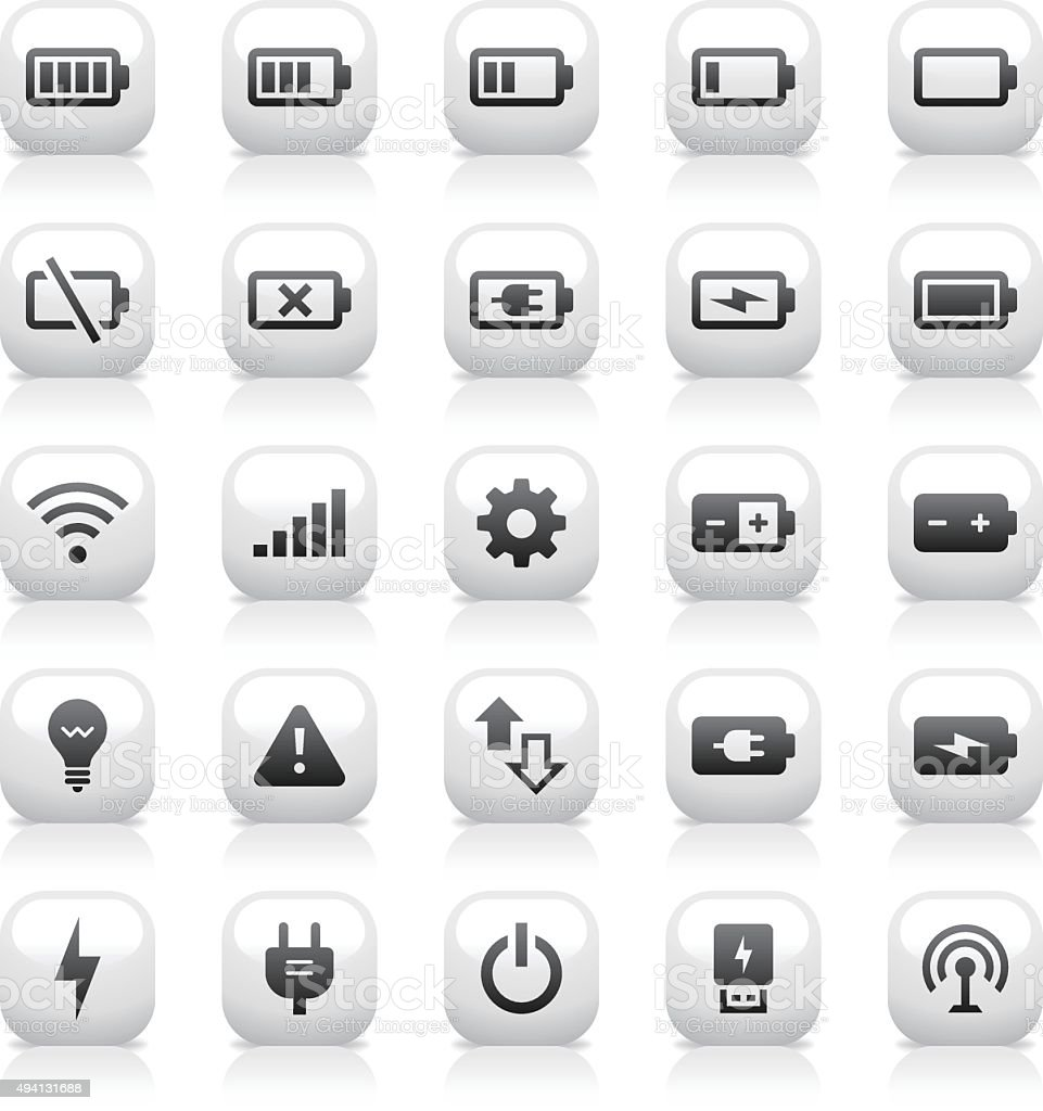 White Button Icons Set   Battery & Power vector art illustration